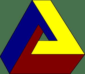"""Ein """"unmögliches Dreieck"""", auch Penrose-Dreieck genannt"""
